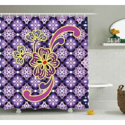 Megan Macro Flower Petals on Foreground Chained Bound Ethnic Shapes Batik Graphic Shower Curtain Size: 69 W x 70 H