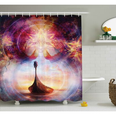 Jackie Digital Overlapping Psychedelic Mystical Back With Hot Flame Effects Image Shower Curtain Size: 69 W x 70 H