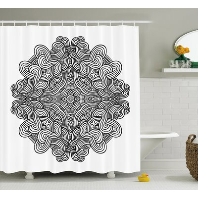 Kearns Circular Ancient Celtic With Twisted Spirals and Lines Classic Cultural Print Shower Curtain Size: 69 W x 84 H