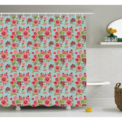 Ruthee Indian Eastern Oriental Botanic Buds and Floral With Leaves Natural Print Shower Curtain Size: 69 W x 75 H