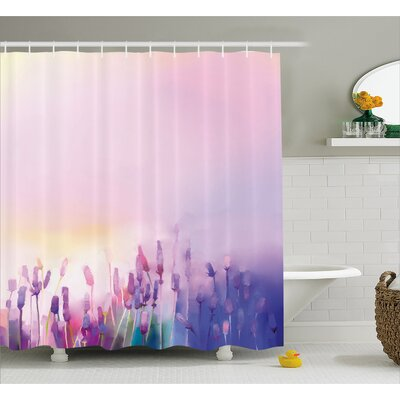 Decker Blurred Lavenders Shower Curtain Size: 69 W x 75 H