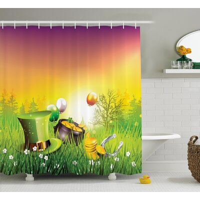 St. PatrickS Day Magical Scene Party Celebration Meadow Balloons Hat and Gold Shower Curtain Size: 69 W x 70 H