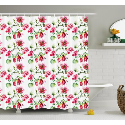 Boutwell Shabby Elegance Floral Details Roses Tulips With Leaves and Buds Colored Print Shower Curtain Size: 69 W x 75 H