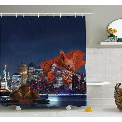 Jeanne Animal Cartoon Like New York City Scenery With a Big Laser Eyed Cute Squirrel Image Shower Curtain Size: 69 W x 84 H