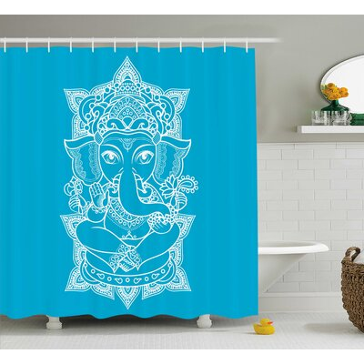 Miera Indian Ancient Elephant God With Crown Yoga Mandala Pattern Boho Decor Asian Style Shower Curtain Size: 69 W x 75 H