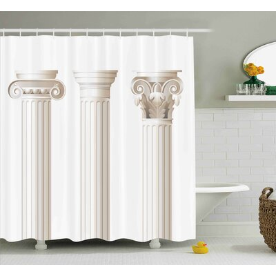 Beverly Architecture Theme Design Ionic Doric and Corinthian Marble Columns Digital Print Shower Curtain Size: 69 W x 75 H