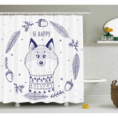 Elba Animal Happy Smiley Cartoon Cute Fox With Hearts and Beam Leaf Happy Quote Print Shower Curtain Size: 69 W x 70 H