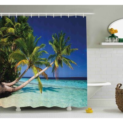 Titania Landscape Tropic Botanic Sandy Beach Island With Coconut Palm Trees Seaside Print Shower Curtain Size: 69 W x 70 H