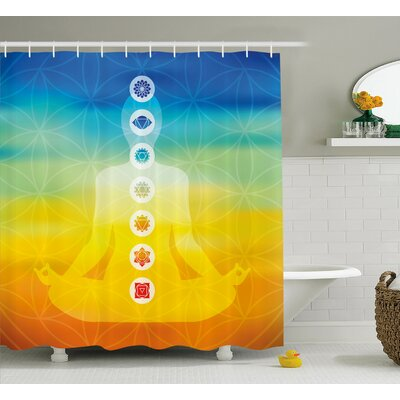 Paterson Gradient Colored Digital Female Human Body With Central Sacred Chakra Points Design Shower Curtain Size: 69 W x 70 H