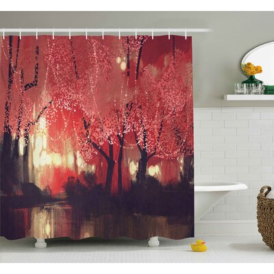 Ascuagas Nature Enchanted Mist Forest With Shady Autumn Trees At Night Magical Paint Artwork Shower Curtain Size: 69 W x 70 H