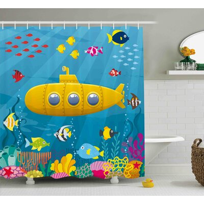 Felecia Yellow Submarine Coral Reef With Colorful Fish Ocean Life Marine Creatures Tropic Kid Shower Curtain Size: 69 W x 70 H