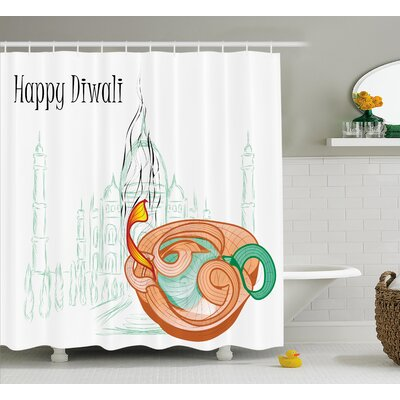Palmerai Diwali Abstract Palace Taj Mahal Like Sketch With Modern Festive Fire Candles Print Shower Curtain Size: 69 W x 70 H