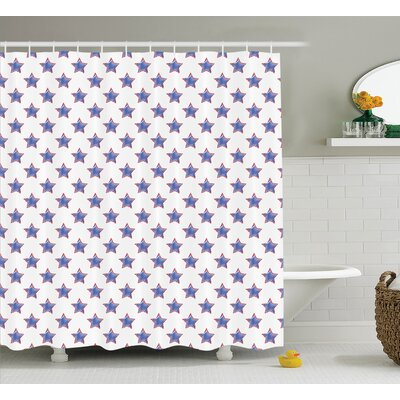 Cynthia Stars Pattern National Independence Decorations Artsy Flag Colored Print Shower Curtain Size: 69 W x 70 H
