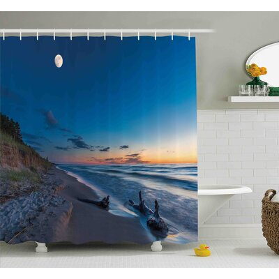 Lucy Nature Theme Driftwood on a Lake and The Moon Shower Curtain Size: 69 W x 70 H