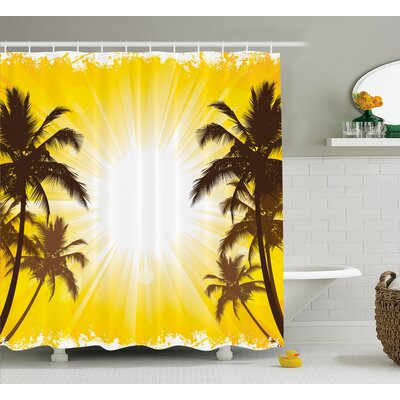 Cordelia Holiday Theme a Sunny Tropical Place With Palm Trees Illustration Shower Curtain Size: 69 W x 70 H