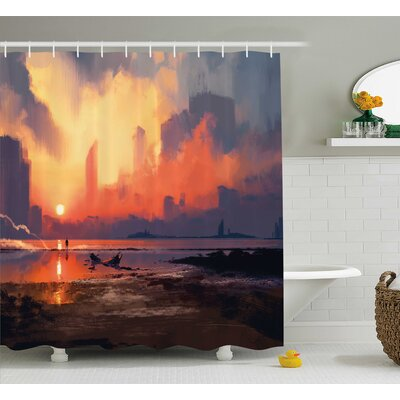 Lorene Man on Sandy Beach With City Skyscrapers Skyline Sunset Oil Graphic Shower Curtain Size: 69 W x 70 H