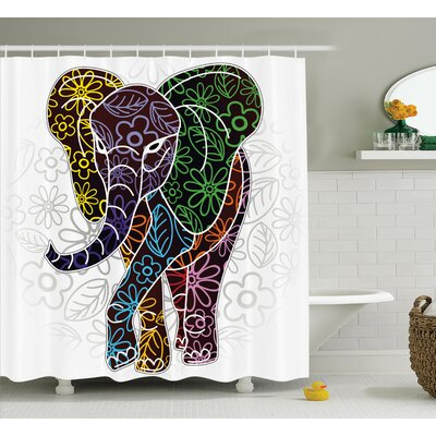 Chaibate Digital Big Elephant Figure With Floral Lines and Tribal Shapes Wild Life Image Shower Curtain Size: 69