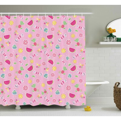 Jill Sweet Candies Yummy Treats Watermelon Creative Delicious Tastes Kids Design Shower Curtain Size: 69 W x 70 H