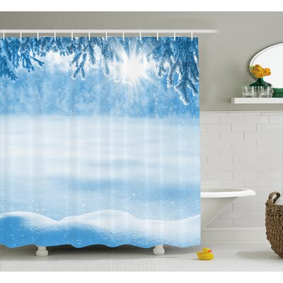 Serrano Psychedelic Winter Background With Snow Drifts and Cold Pine Branch Image Shower Curtain Size: 69 W x 70 H
