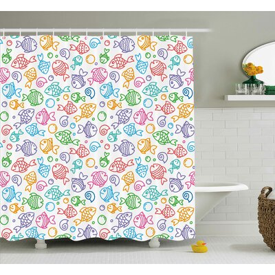 Ines Kids Various Color Repeating Funny Fish Motif Cheerful Aquatic Creatures Underwater Image Shower Curtain Size: 69 W x 70 H