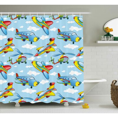 Erna Kids Cartoon Planes and Helicopters Shower Curtain Size: 69 W x 70 H