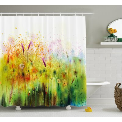 Horton Trippy Violet Garden Made With Brushstrokes Ferns Sketchy Paint Shower Curtain Size: 69 W x 75 H