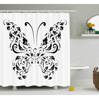 Frederick Butterfly Silhouette of Moth With Swirl Floral Blossom Line Spirit Animal Illustration Shower Curtain Size: 69 W x 70 H