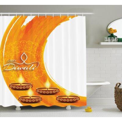 Mekka Diwali Modern Graphic Diwali Festive Celebration Themed Candles on Paisley Backdrop Print Shower Curtain Size: 69 W x 70 H