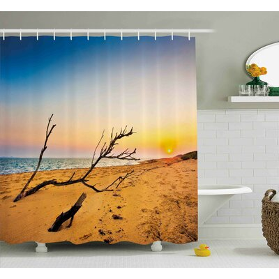 Tracey Washed Up Driftwood on The Sandy Shore At Sunrise Digital Image Shower Curtain Size: 69