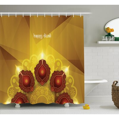 Meknassi Diwali Modern Golden Geometric Cut Backdrop With Paisley Indian Decoration Print Shower Curtain Size: 69 W x 70 H