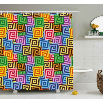 Bournazel Modern Ethnic Africa Tribal Geometric Mosaic Like Design Colorful Vivid Lines Artwork Shower Curtain Size: 69 W x 70 H