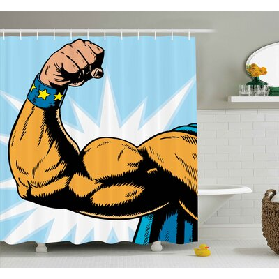 Wyona Comics Superhero Arm Flexing Muscles Powerful Fiction Character Cartoon Graphic Shower Curtain Size: 69 W x 70 H