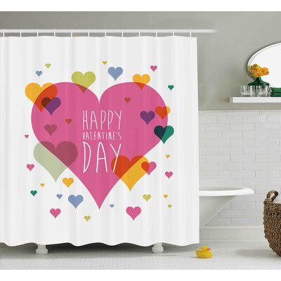 Valentines Day Happy Valentine Day Quote Love Romance Theme Abstract Image With Heart Shower Curtain Size: 69 W x 70 H