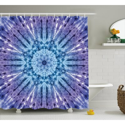 Audenried Tie Dye Original Circle Mandala Motif Centered Vibrant Spectral Color Motion Graphic Shower Curtain Size: 69 W x 75 H