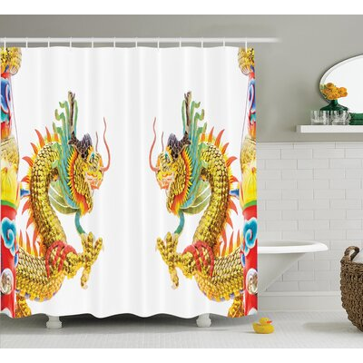 Autumn Dragon Chinese Style Dragon Statue Spiritual Power Asian Holy Symbols Oriental Theme Shower Curtain Size: 69 W x 70 H