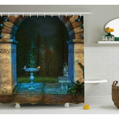 Forest Landscape From Ancient Archway Birds on Fountain Fairy Image Shower Curtain Size: 69