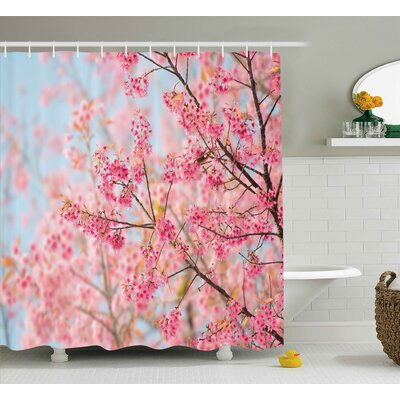 Riggs Japanese Sakura Cherry Blossom Branches Full of Spring Beauty Picture Shower Curtain Size: 69 W x 70 H