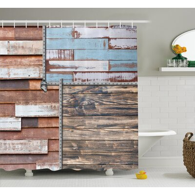 Chantelle Rustic and Farm Themed Old Wooden Detailed Modern Design With Screws Art Shower Curtain Size: 69 W x 75 H