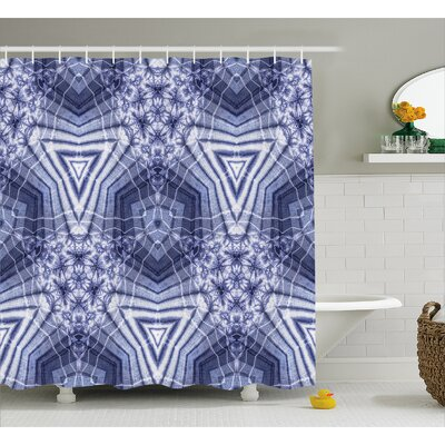Ashley Tie Dye Hallucinatory Surreal Morphing Concentric Geometric Figures With Fractal Patterns Shower Curtain Size: 69 W x 75 H
