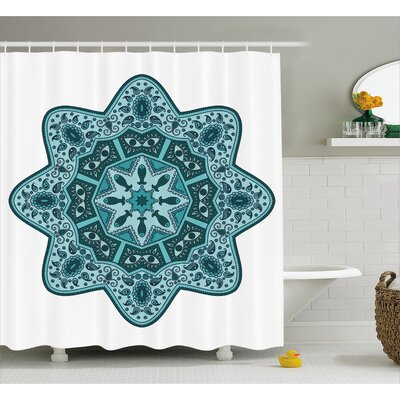 Leah Mandala Eastern Chinese Lace Mandala With Inner Eye Fish and Paisley Figures Artwork Shower Curtain Size: 69 W x 70 H