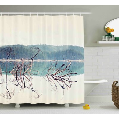 Lauri Driftwood Nature Theme Branch of Fallen Tree Near The Mountain Lake and The Forest Shower Curtain Size: 69 W x 70 H
