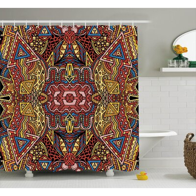Bette Retro Color Old-Fashion Doodle Effect Tribal Theme Pattern Hippie Funky Art Picture Shower Curtain Size: 69 W x 70 H