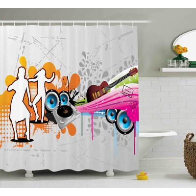 Robyn Grunge Music People With Turntable and Speakers Dancing Funky Urban Nights Guitar Print Shower Curtain Size: 69 W x 70 H
