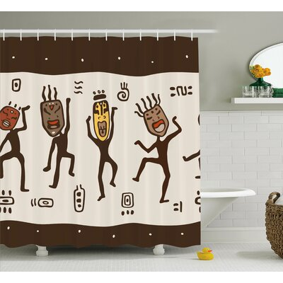 Atchison Cartoon Natives With African Masks Prehistoric Tribal Rituals Theme Shower Curtain Size: 69 W x 70 H