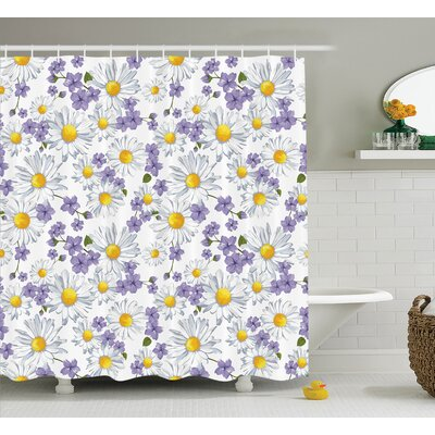 Wen Home Chamomile and Wild Flower Summer Natural Elegant Pattern Shower Curtain Size: 69 W x 84 H
