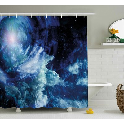 Kasten Space Nebula Gas Cloud on Celestial Sphere Universe Themed Infinity Design Galaxy Art Print Shower Curtain Size: 69 W x 70 H