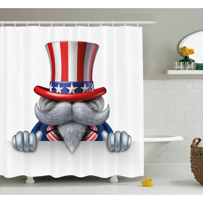 4th of July Retro American Culture Objects With Eagle Fireworks Burger Sketchy Design Shower Curtain Size: 69 W x 70 H