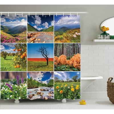 Tonya Collage With Summer Majestic Mountains Waterfalls High Lands Environment Decor Shower Curtain Size: 69 W x 75 H