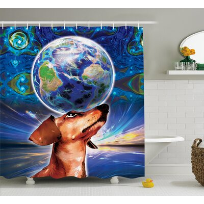Freda Animal Cute Adorable Dog Holding Earth on His Head Nose With Paisley Like Design Backdrop Shower Curtain Size: 69 W x 70 H