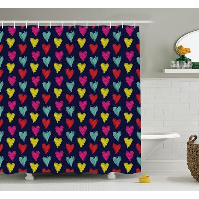 Kelsey Romantic Style Multicolored Hearts Love Happiness Theme Valentine Day Decor Image Shower Curtain Size: 69 W x 84 H